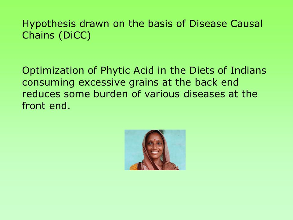 Hypothesis drawn on the basis of Disease Causal Chains (DiCC) Optimization of Phytic Acid in the Diets of Indians consuming excessive grains at the back end reduces some burden of various diseases at the front end.