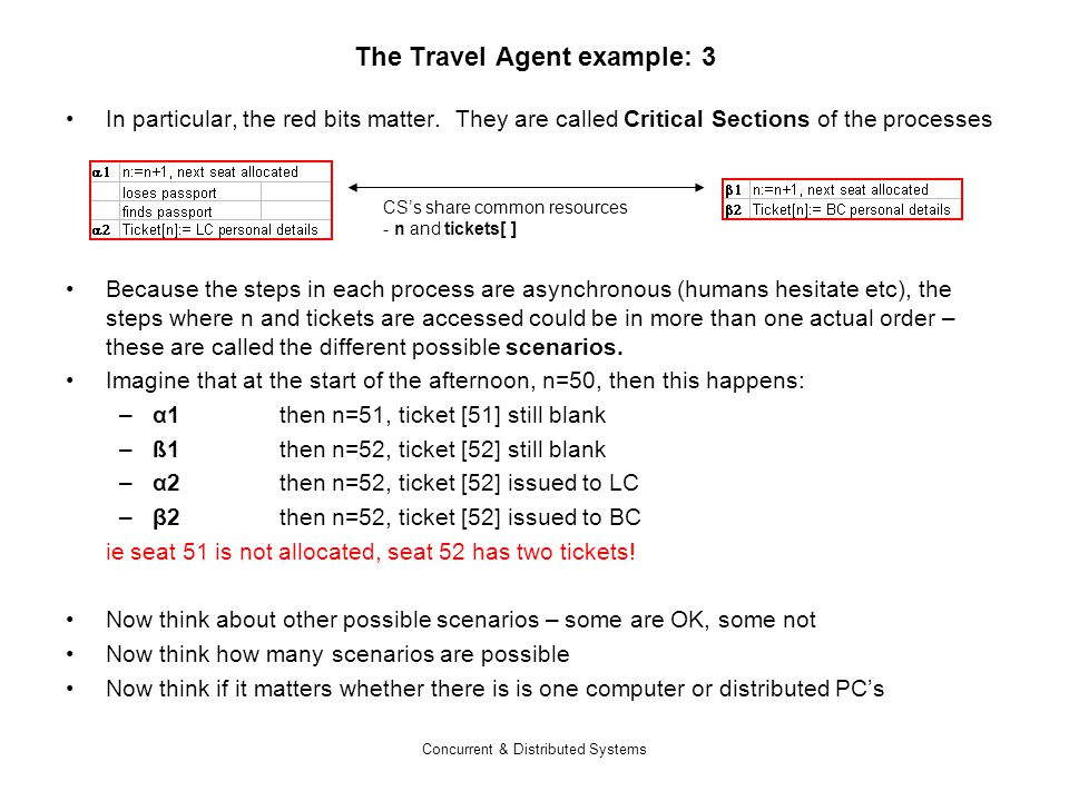 Concurrent & Distributed Systems The Travel Agent example: 3 In particular, the red bits matter.