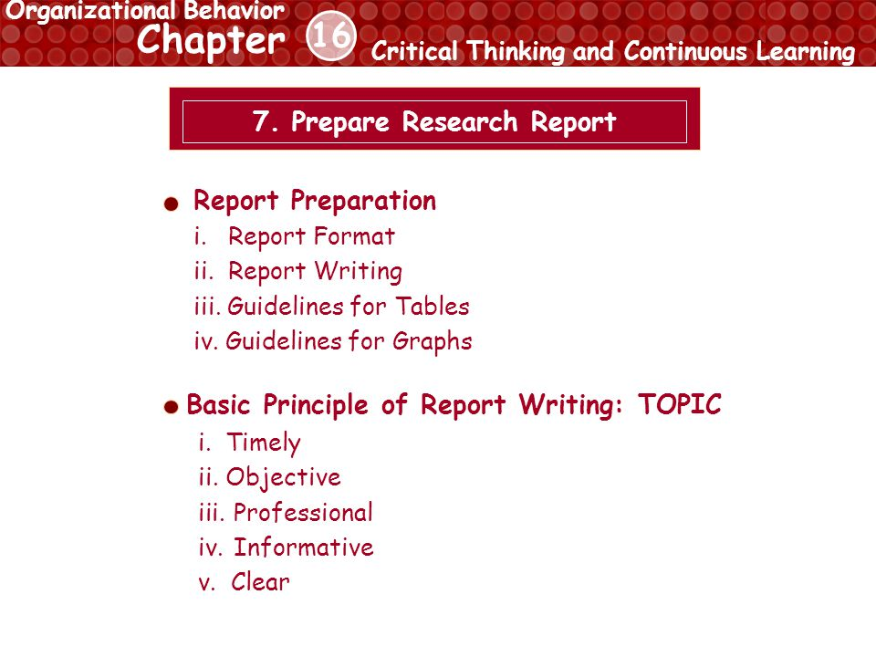 16 Chapter Critical Thinking and Continuous Learning Organizational Behavior 7.