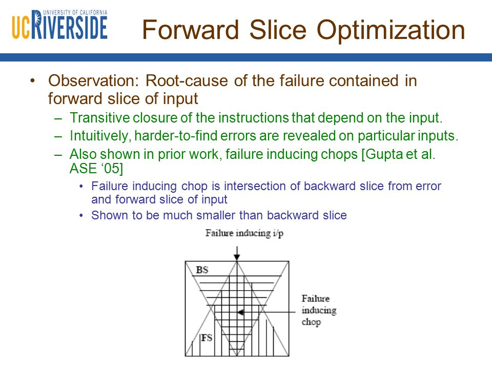 Forward Slice Optimization Observation: Root-cause of the failure contained in forward slice of input –Transitive closure of the instructions that dep