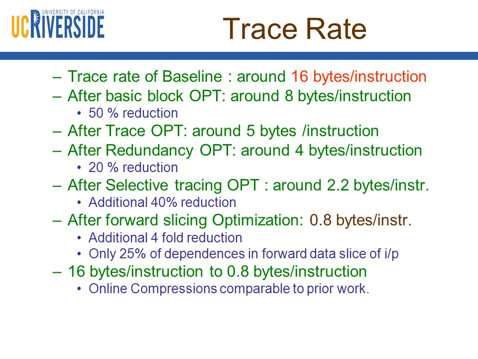 Trace Rate –Trace rate of Baseline : around 16 bytes/instruction –After basic block OPT: around 8 bytes/instruction 50 % reduction –After Trace OPT: around 5 bytes /instruction –After Redundancy OPT: around 4 bytes/instruction 20 % reduction –After Selective tracing OPT : around 2.2 bytes/instr.