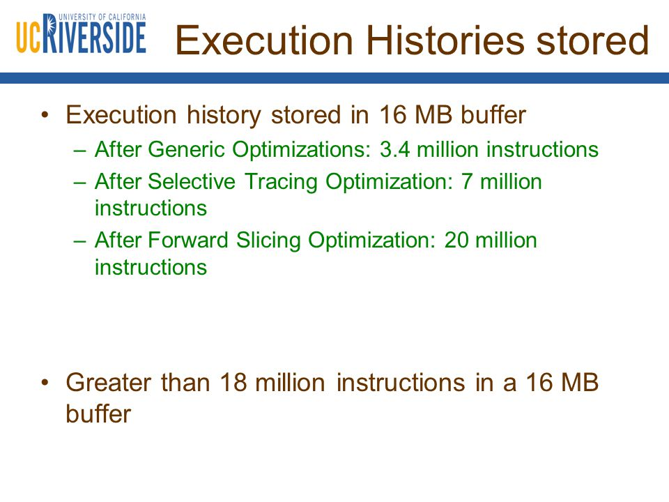 Execution Histories stored Execution history stored in 16 MB buffer –After Generic Optimizations: 3.4 million instructions –After Selective Tracing Optimization: 7 million instructions –After Forward Slicing Optimization: 20 million instructions Greater than 18 million instructions in a 16 MB buffer