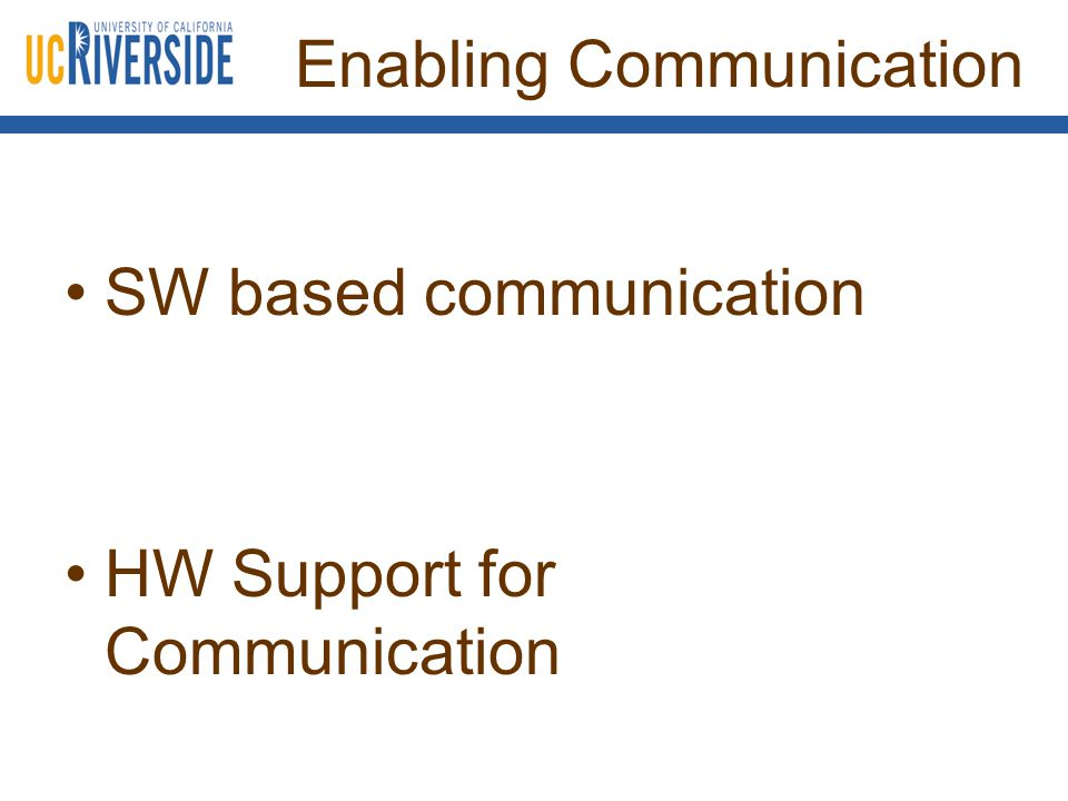Enabling Communication SW based communication HW Support for Communication