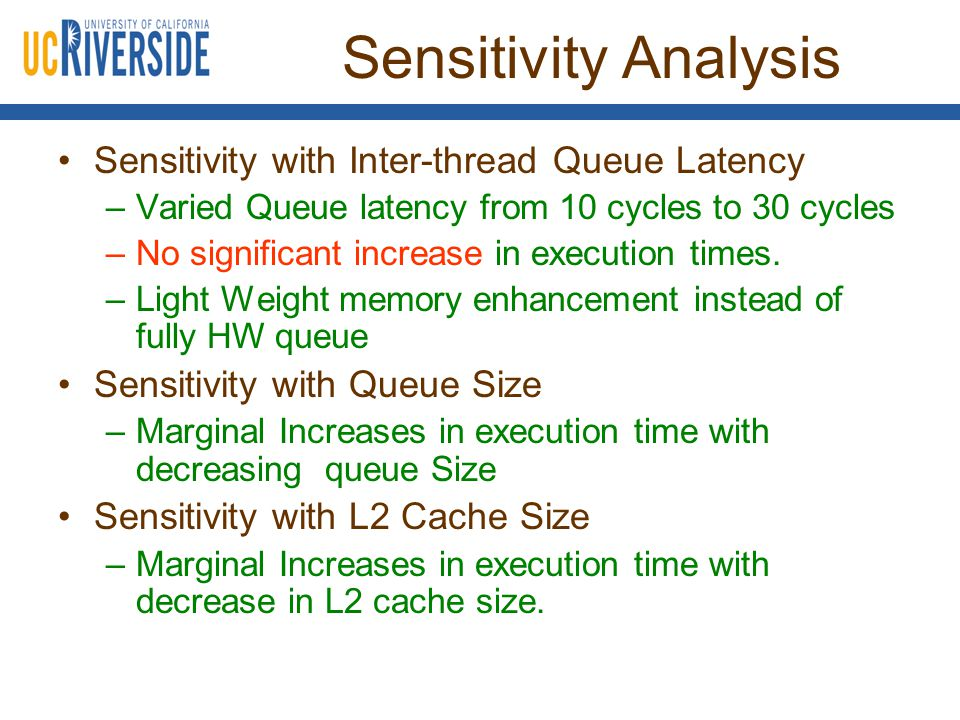 Sensitivity Analysis Sensitivity with Inter-thread Queue Latency –Varied Queue latency from 10 cycles to 30 cycles –No significant increase in execution times.