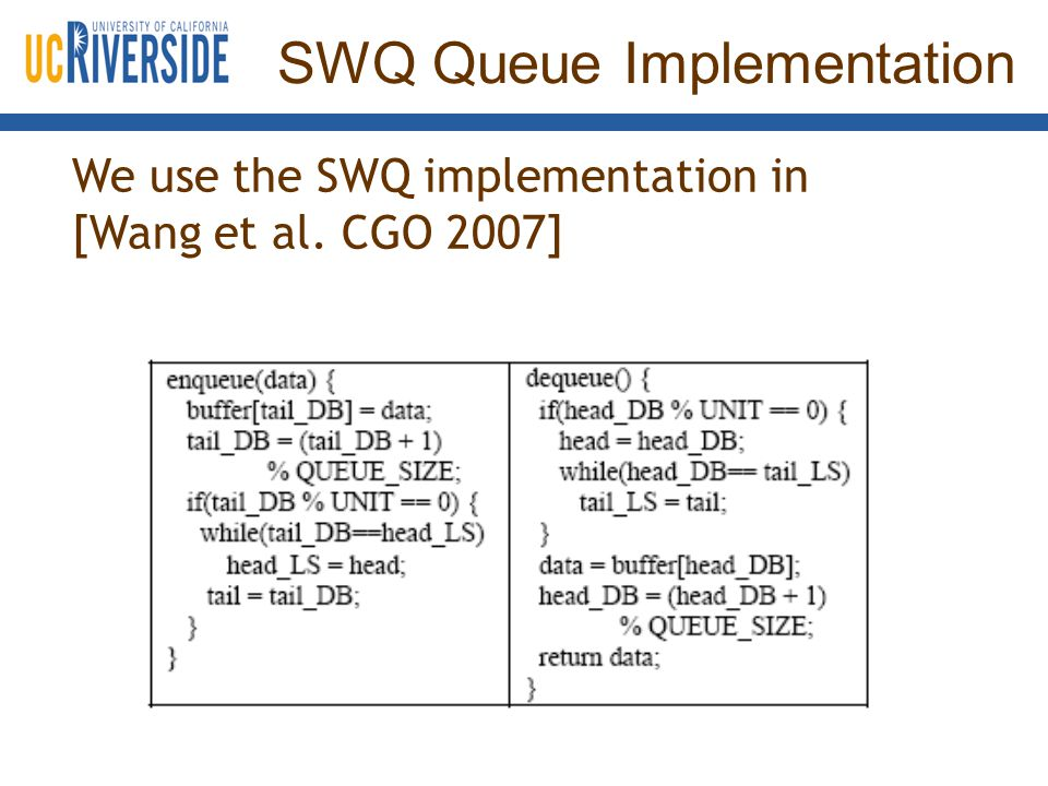 SWQ Queue Implementation We use the SWQ implementation in [Wang et al. CGO 2007]