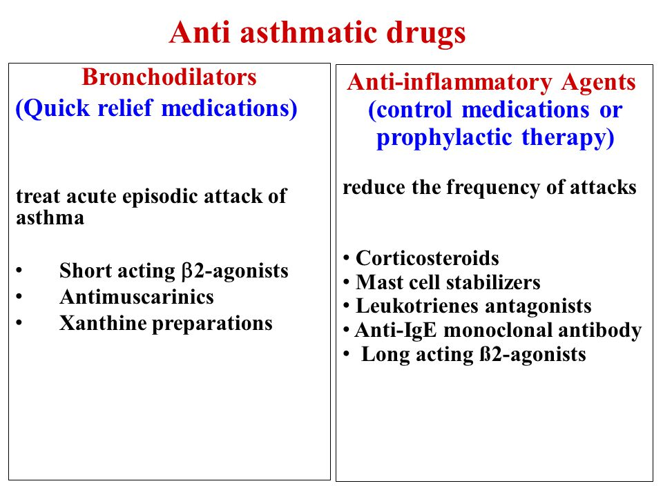 Aims of anti asthmatic drugs: To relieve acute episodic attacks of asthma (bronchodilators, quick relief medications). To reduce the frequency of atta