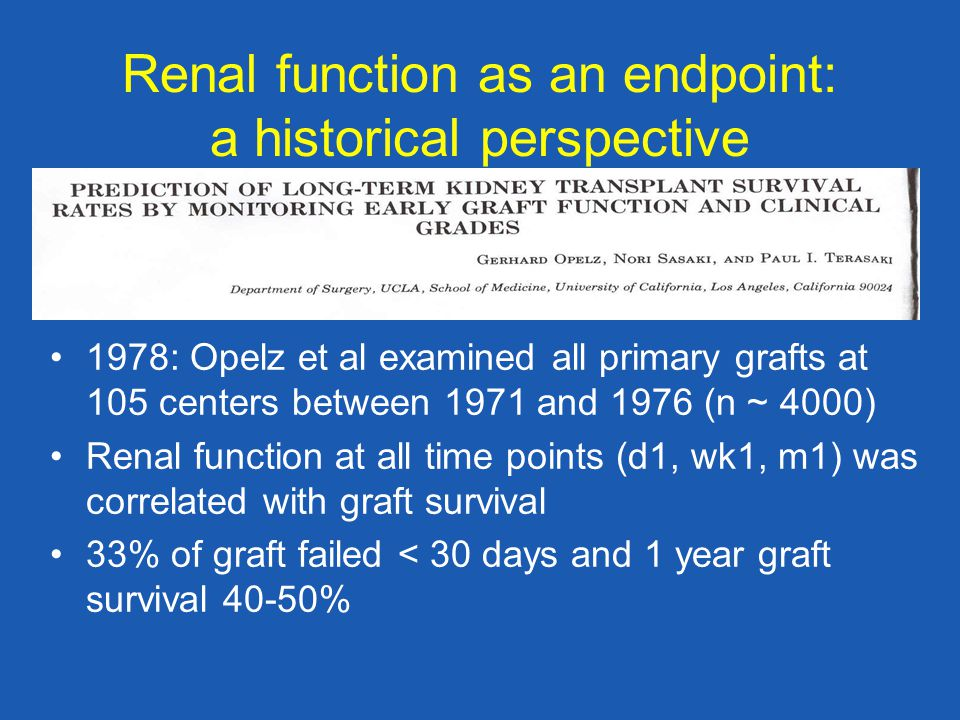 Renal function as an endpoint: a historical perspective 1978: Opelz et al examined all primary grafts at 105 centers between 1971 and 1976 (n ~ 4000) Renal function at all time points (d1, wk1, m1) was correlated with graft survival 33% of graft failed < 30 days and 1 year graft survival 40-50%