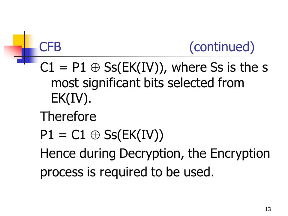 13 CFB (continued) C1 = P1  Ss(EK(IV)), where Ss is the s most significant bits selected from EK(IV).