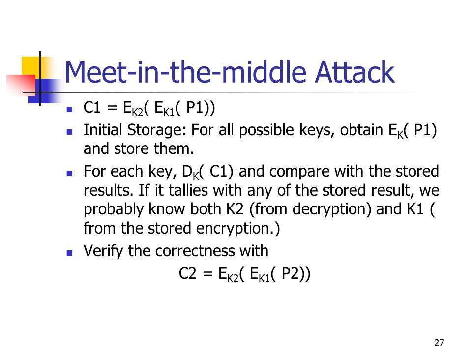 27 Meet-in-the-middle Attack C1 = E K2 ( E K1 ( P1)) Initial Storage: For all possible keys, obtain E K ( P1) and store them.