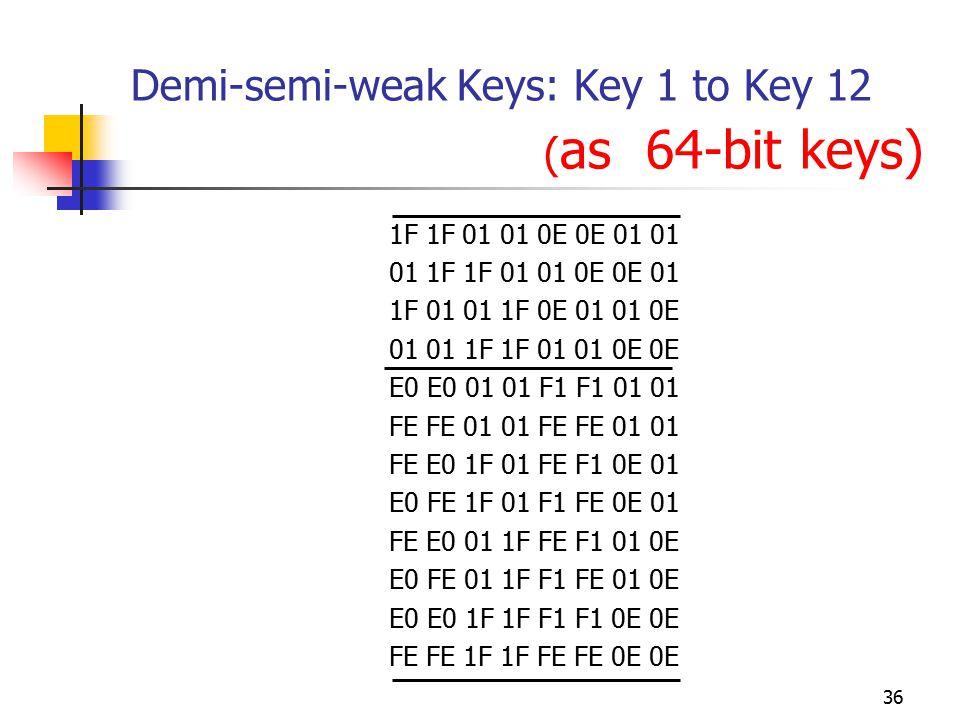 36 Demi-semi-weak Keys: Key 1 to Key 12 ( as 64-bit keys) 1F 1F 01 01 0E 0E 01 01 01 1F 1F 01 01 0E 0E 01 1F 01 01 1F 0E 01 01 0E 01 01 1F 1F 01 01 0E 0E E0 E0 01 01 F1 F1 01 01 FE FE 01 01 FE E0 1F 01 FE F1 0E 01 E0 FE 1F 01 F1 FE 0E 01 FE E0 01 1F FE F1 01 0E E0 FE 01 1F F1 FE 01 0E E0 E0 1F 1F F1 F1 0E 0E FE FE 1F 1F FE FE 0E 0E