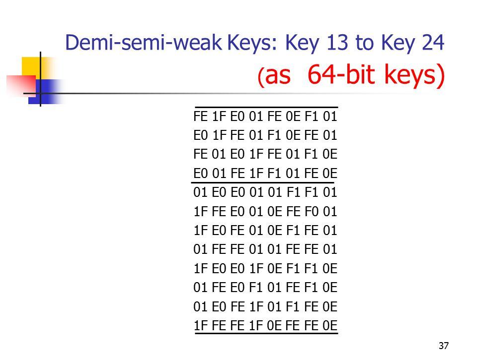 37 Demi-semi-weak Keys: Key 13 to Key 24 ( as 64-bit keys) FE 1F E0 01 FE 0E F1 01 E0 1F FE 01 F1 0E FE 01 FE 01 E0 1F FE 01 F1 0E E0 01 FE 1F F1 01 FE 0E 01 E0 E0 01 01 F1 F1 01 1F FE E0 01 0E FE F0 01 1F E0 FE 01 0E F1 FE 01 01 FE FE 01 1F E0 E0 1F 0E F1 F1 0E 01 FE E0 F1 01 FE F1 0E 01 E0 FE 1F 01 F1 FE 0E 1F FE FE 1F 0E FE FE 0E