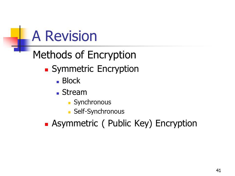 41 A Revision Methods of Encryption Symmetric Encryption Block Stream Synchronous Self-Synchronous Asymmetric ( Public Key) Encryption