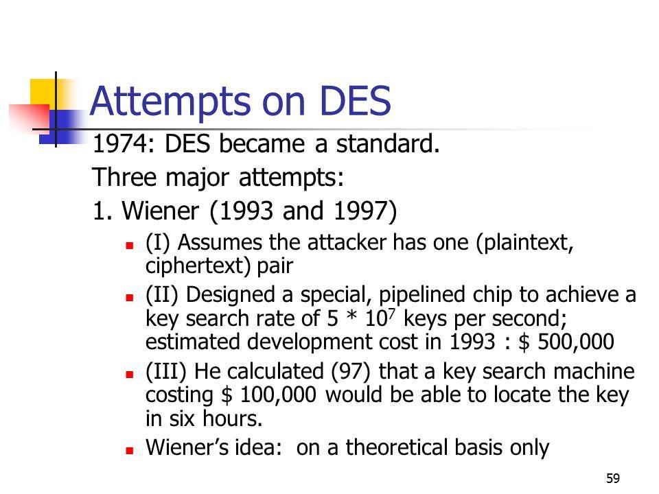 59 Attempts on DES 1974: DES became a standard. Three major attempts: 1.