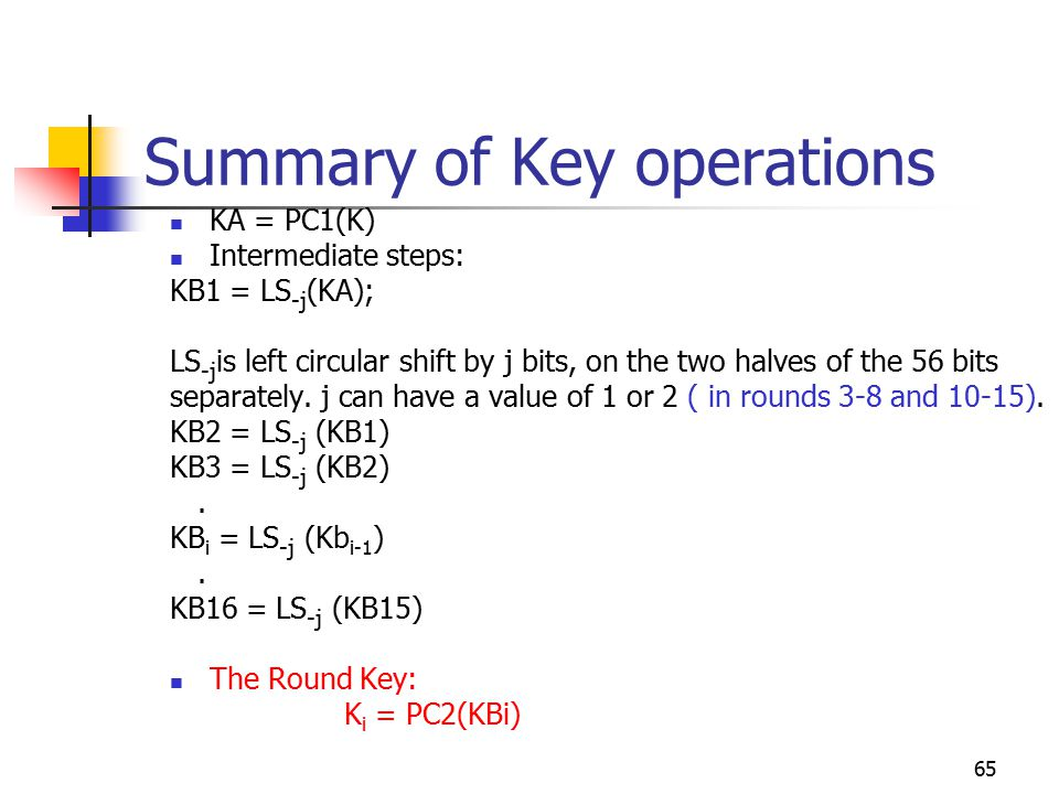 65 Summary of Key operations KA = PC1(K) Intermediate steps: KB1 = LS -j (KA); LS -j is left circular shift by j bits, on the two halves of the 56 bits separately.