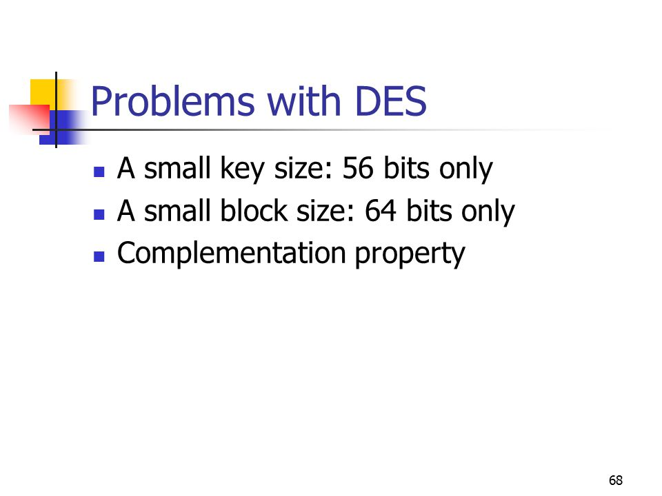 68 Problems with DES A small key size: 56 bits only A small block size: 64 bits only Complementation property