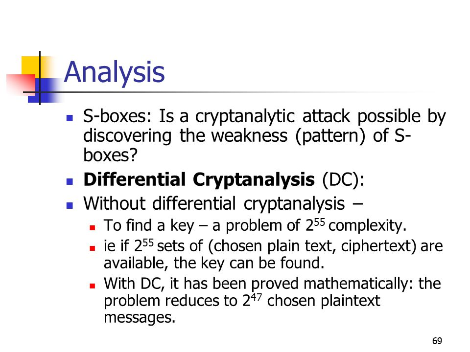 69 Analysis S-boxes: Is a cryptanalytic attack possible by discovering the weakness (pattern) of S- boxes.