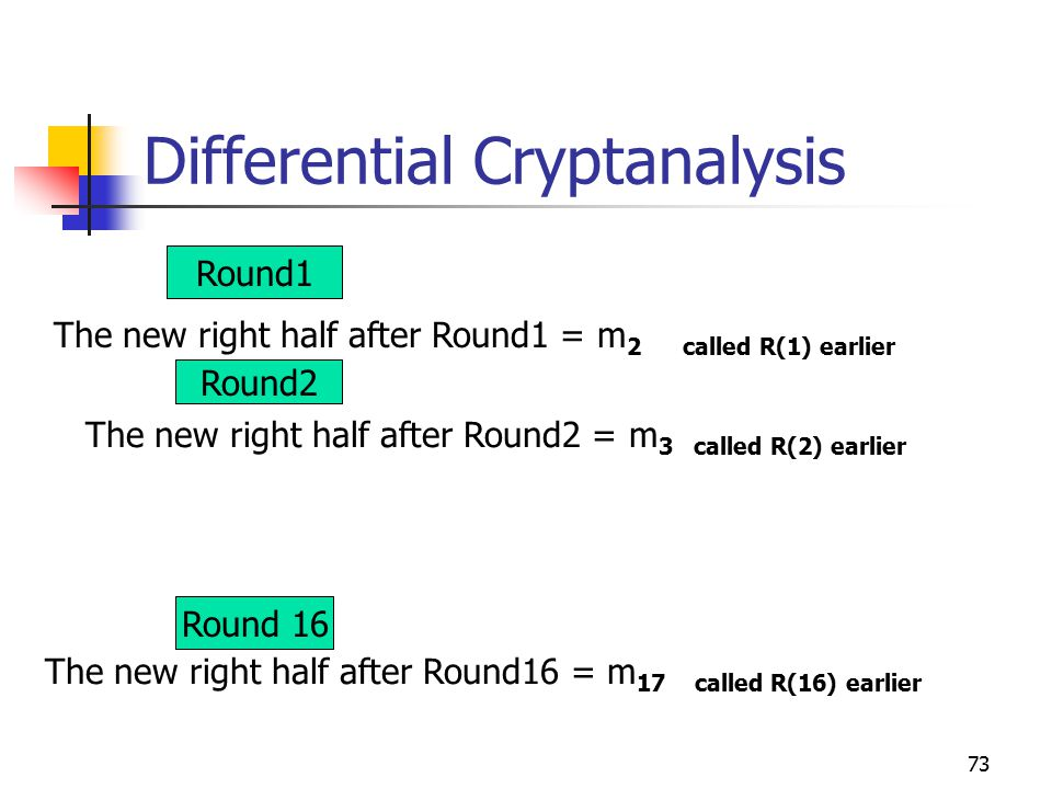 73 Differential Cryptanalysis Round1 Round2 Round 16 The new right half after Round1 = m 2 called R(1) earlier The new right half after Round2 = m 3 called R(2) earlier The new right half after Round16 = m 17 called R(16) earlier