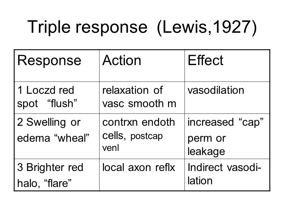 Triple response (Lewis,1927) ResponseActionEffect 1 Loczd red spot flush relaxation of vasc smooth m vasodilation 2 Swelling or edema wheal contrxn endoth cells, postcap venl increased cap perm or leakage 3 Brighter red halo, flare local axon reflxIndirect vasodi- lation