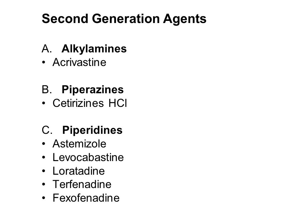 Second Generation Agents A. Alkylamines Acrivastine B.