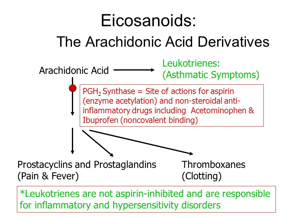 Eicosanoids: The Arachidonic Acid Derivatives Arachidonic Acid Leukotrienes: (Asthmatic Symptoms) Prostacyclins and Prostaglandins (Pain & Fever) Thromboxanes (Clotting) PGH 2 Synthase = Site of actions for aspirin (enzyme acetylation) and non-steroidal anti- inflammatory drugs including Acetominophen & Ibuprofen (noncovalent binding) *Leukotrienes are not aspirin-inhibited and are responsible for inflammatory and hypersensitivity disorders