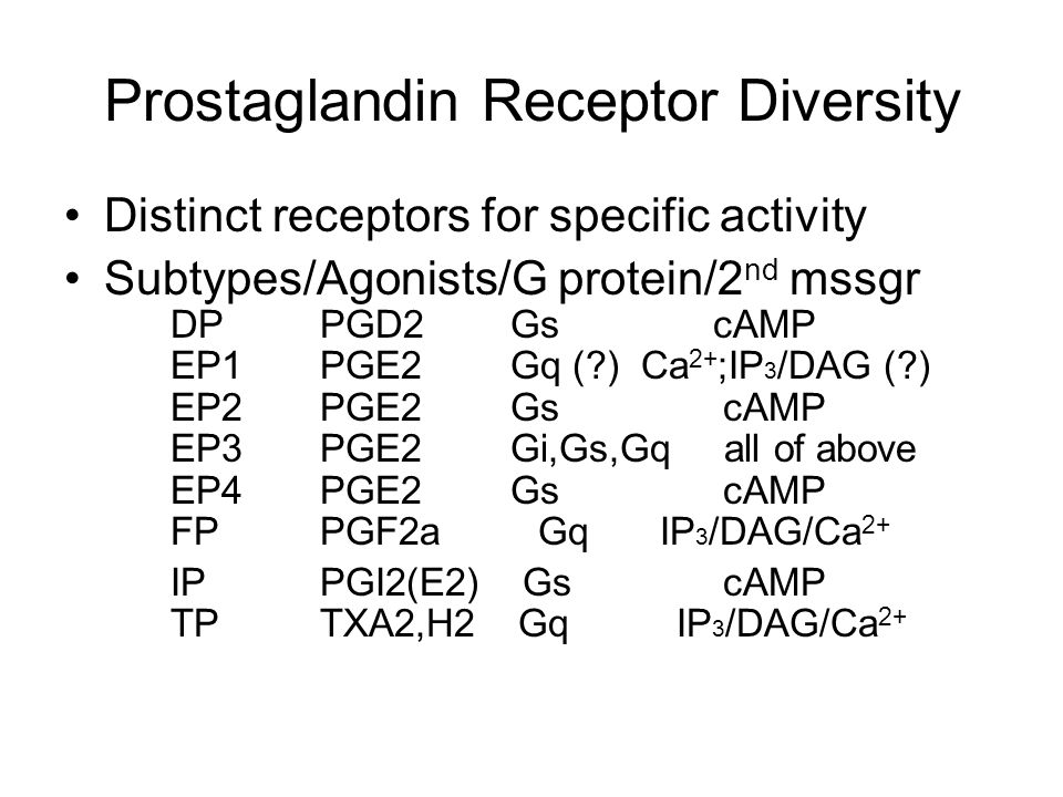 Prostaglandin Receptor Diversity Distinct receptors for specific activity Subtypes/Agonists/G protein/2 nd mssgr DP PGD2 Gs cAMP EP1 PGE2 Gq ( ) Ca 2+ ;IP 3 /DAG ( ) EP2 PGE2 Gs cAMP EP3 PGE2 Gi,Gs,Gq all of above EP4 PGE2 Gs cAMP FP PGF2a Gq IP 3 /DAG/Ca 2+ IP PGI2(E2) Gs cAMP TP TXA2,H2 Gq IP 3 /DAG/Ca 2+