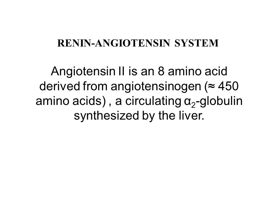 RENIN-ANGIOTENSIN SYSTEM Angiotensin II is an 8 amino acid derived from angiotensinogen (≈ 450 amino acids), a circulating α 2 -globulin synthesized by the liver.