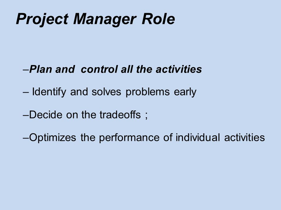Plan Specify goal and objectives Strategies Policies Plans (Task assign, schedule. etc) Procedures