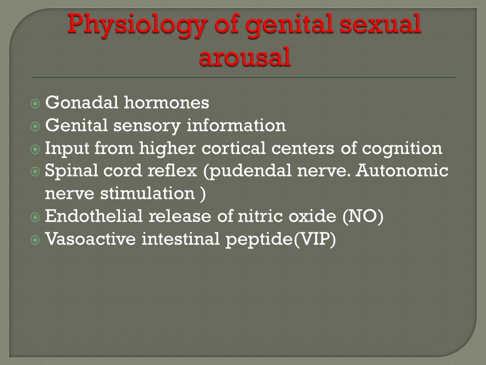  Gonadal hormones  Genital sensory information  Input from higher cortical centers of cognition  Spinal cord reflex (pudendal nerve. Autonomic ner