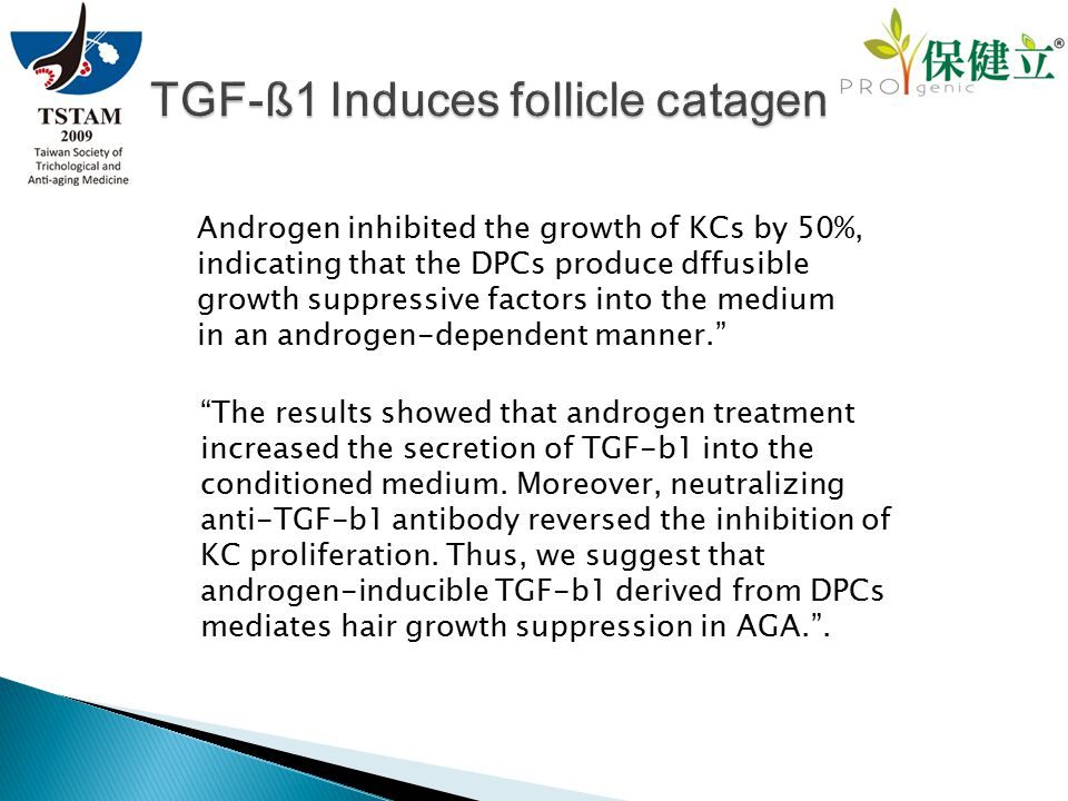 Androgen inhibited the growth of KCs by 50%, indicating that the DPCs produce dffusible growth suppressive factors into the medium in an androgen-depe