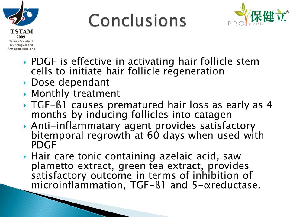  PDGF is effective in activating hair follicle stem cells to initiate hair follicle regeneration  Dose dependant  Monthly treatment  TGF-ß1 causes