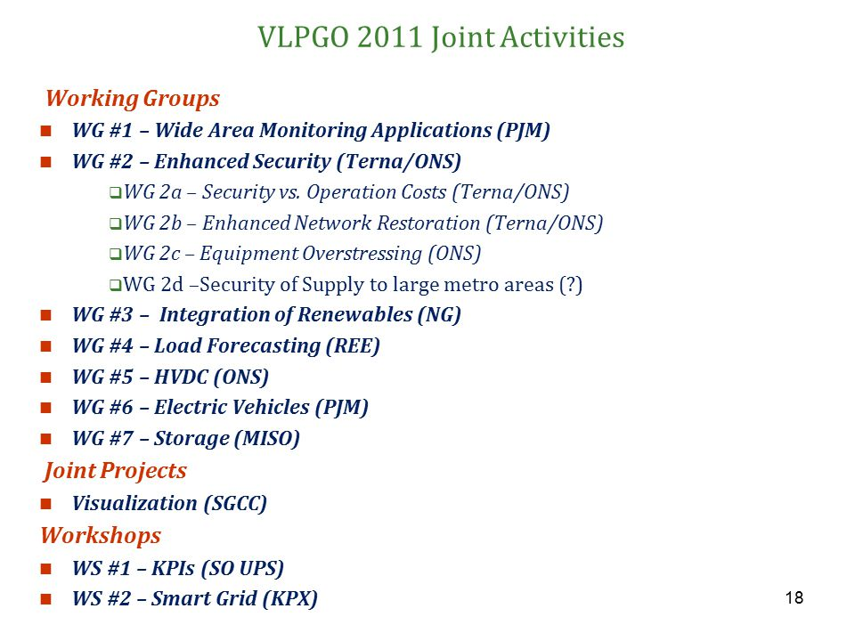 18 VLPGO 2011 Joint Activities Working Groups WG #1 – Wide Area Monitoring Applications (PJM) WG #2 – Enhanced Security (Terna/ONS)  WG 2a – Security
