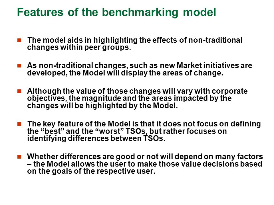 Features of the benchmarking model The model aids in highlighting the effects of non-traditional changes within peer groups. As non-traditional change