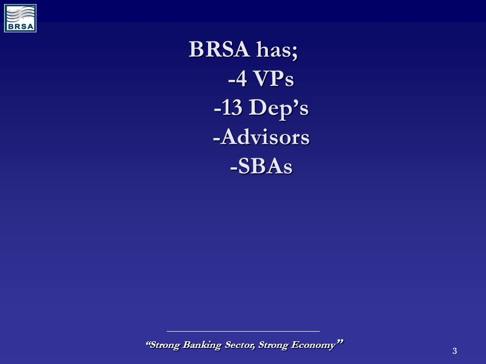 "3 ""Strong Banking Sector, Strong Economy "" BRSA has; -4 VPs -13 Dep's -Advisors -SBAs"