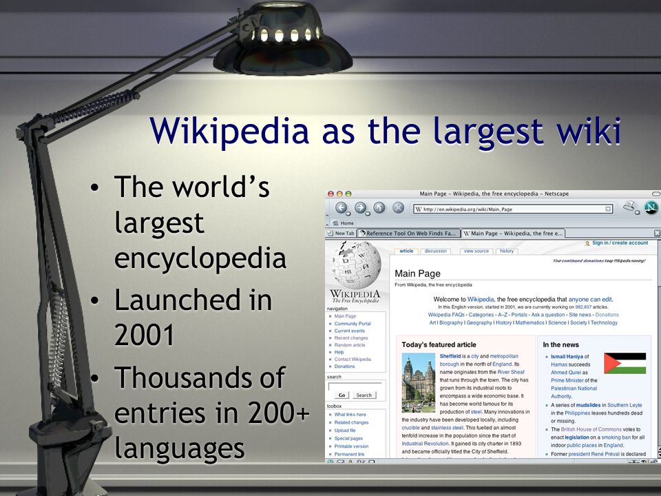 The world's largest encyclopedia Launched in 2001 Thousands of entries in 200+ languages The world's largest encyclopedia Launched in 2001 Thousands o