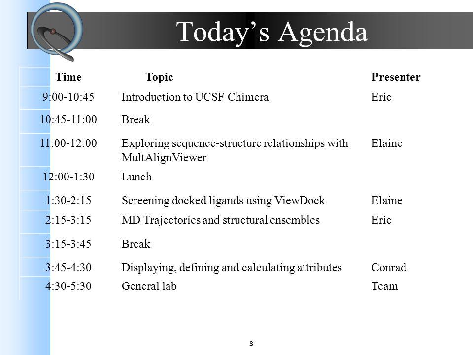 4 Tomorrow's Agenda Time TopicPresenter 9:00-10:00Large molecular assembliesTom 10:00-10:30Break 10:30-11:30Volume dataTom 11:30-1:00Lunch 1:00-2:00Producing images and moviesGreg 2:00-3:00Chimera scripts and demosGreg 3:00-3:30Break 3:30-??Panel discussionTeam