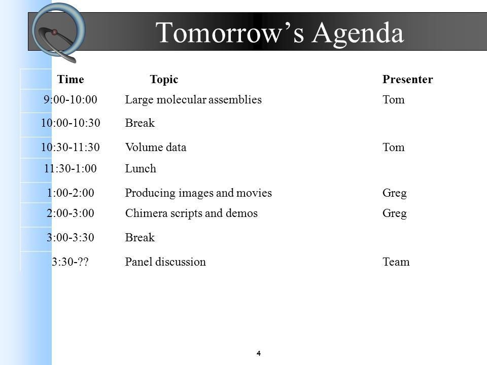 4 Tomorrow's Agenda Time TopicPresenter 9:00-10:00Large molecular assembliesTom 10:00-10:30Break 10:30-11:30Volume dataTom 11:30-1:00Lunch 1:00-2:00Producing images and moviesGreg 2:00-3:00Chimera scripts and demosGreg 3:00-3:30Break 3:30- Panel discussionTeam
