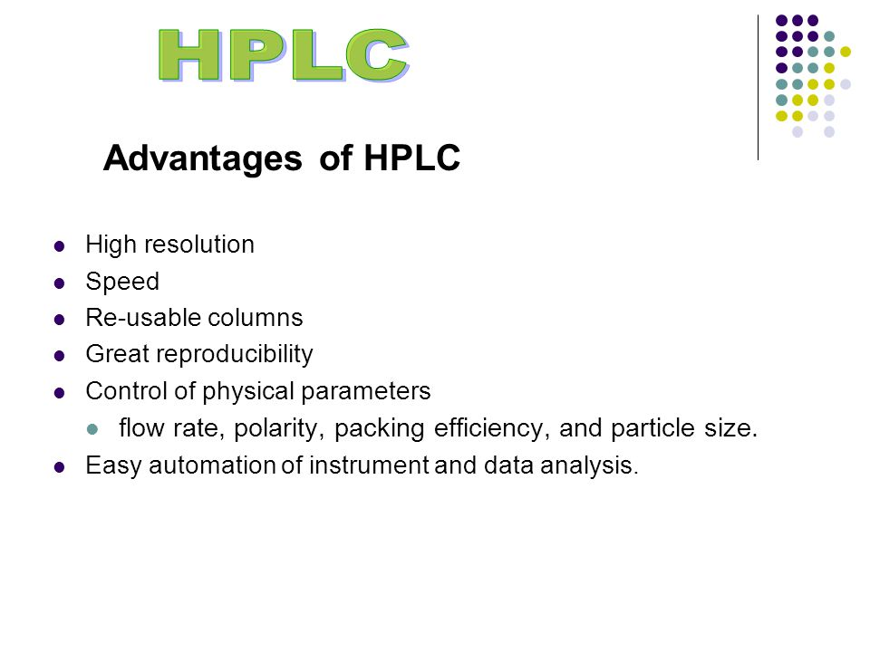 Advantages of HPLC High resolution Speed Re-usable columns Great reproducibility Control of physical parameters flow rate, polarity, packing efficiency, and particle size.