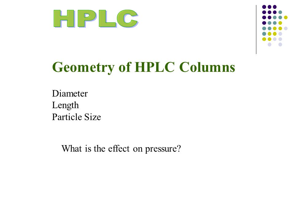Geometry of HPLC Columns Diameter Length Particle Size What is the effect on pressure?