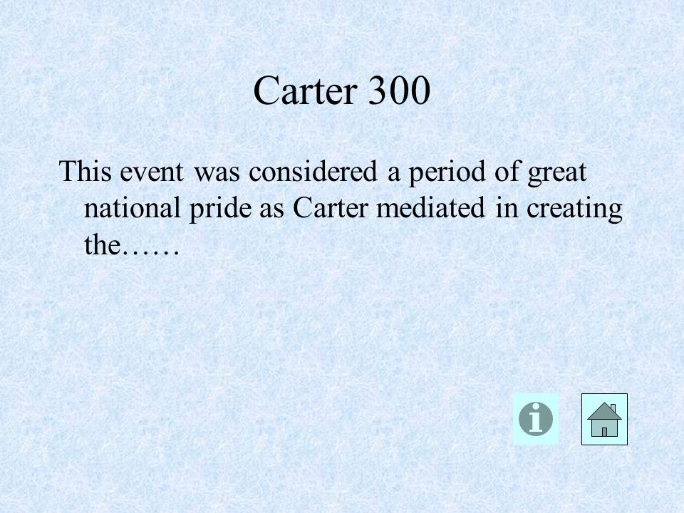 Carter 300 This event was considered a period of great national pride as Carter mediated in creating the……