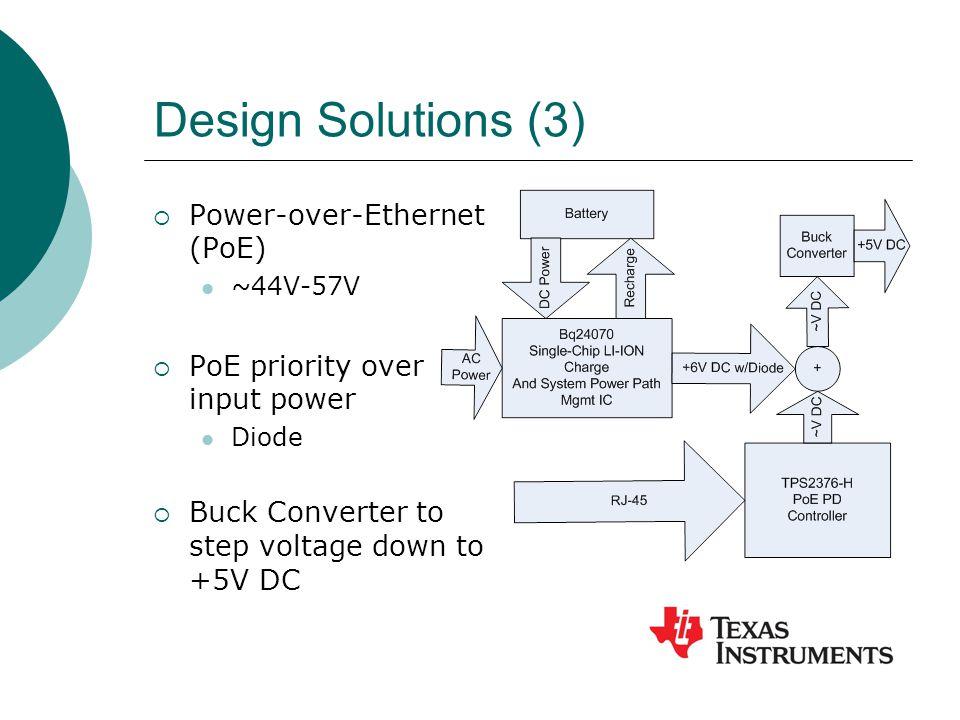 Design Solutions (3)  Power-over-Ethernet (PoE) ~44V-57V  PoE priority over input power Diode  Buck Converter to step voltage down to +5V DC