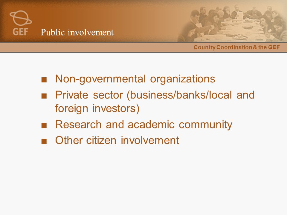 Country Coordination & the GEF Public involvement ■Non-governmental organizations ■Private sector (business/banks/local and foreign investors) ■Resear