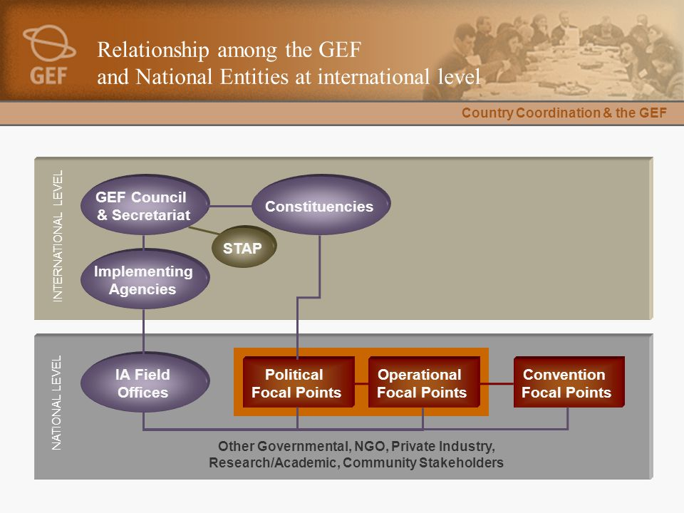 Country Coordination & the GEF Relationship among the GEF and National Entities at international level Convention Focal Points Operational Focal Point