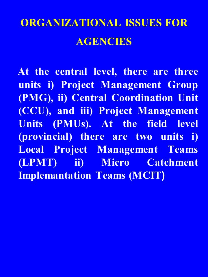 ORGANIZATIONAL ISSUES FOR AGENCIES At the central level, there are three units i) Project Management Group (PMG), ii) Central Coordination Unit (CCU), and iii) Project Management Units (PMUs).