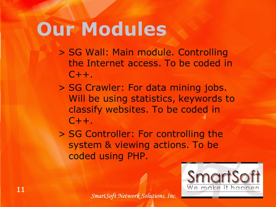 11 SmartSoft Network Solutions, Inc. Our Modules >SG Wall: Main module.