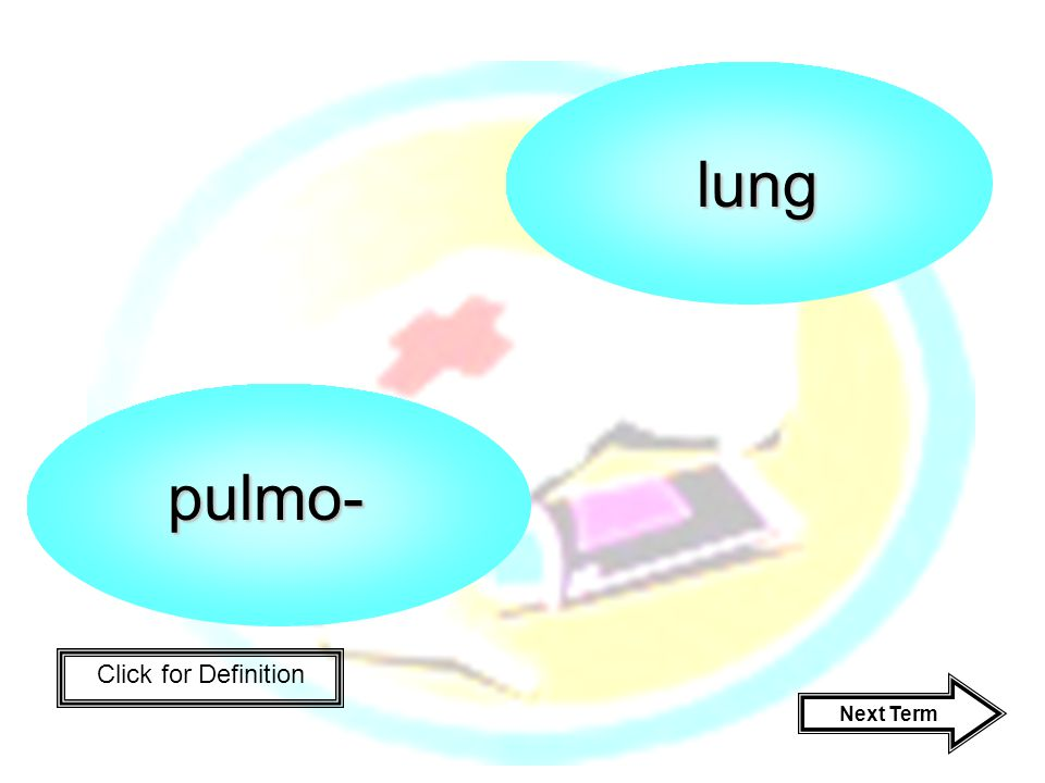 Click for Definition pulmo- lung Next Term