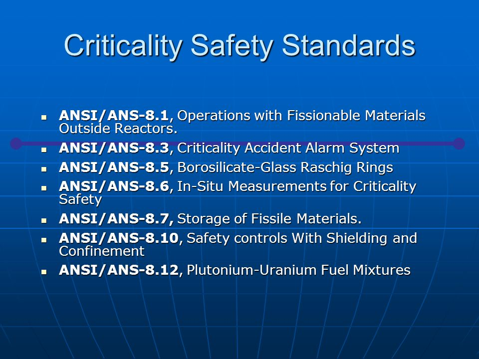 ANSI/ANS-8.1, Operations with Fissionable Materials Outside Reactors. ANSI/ANS-8.1, Operations with Fissionable Materials Outside Reactors. ANSI/ANS-8