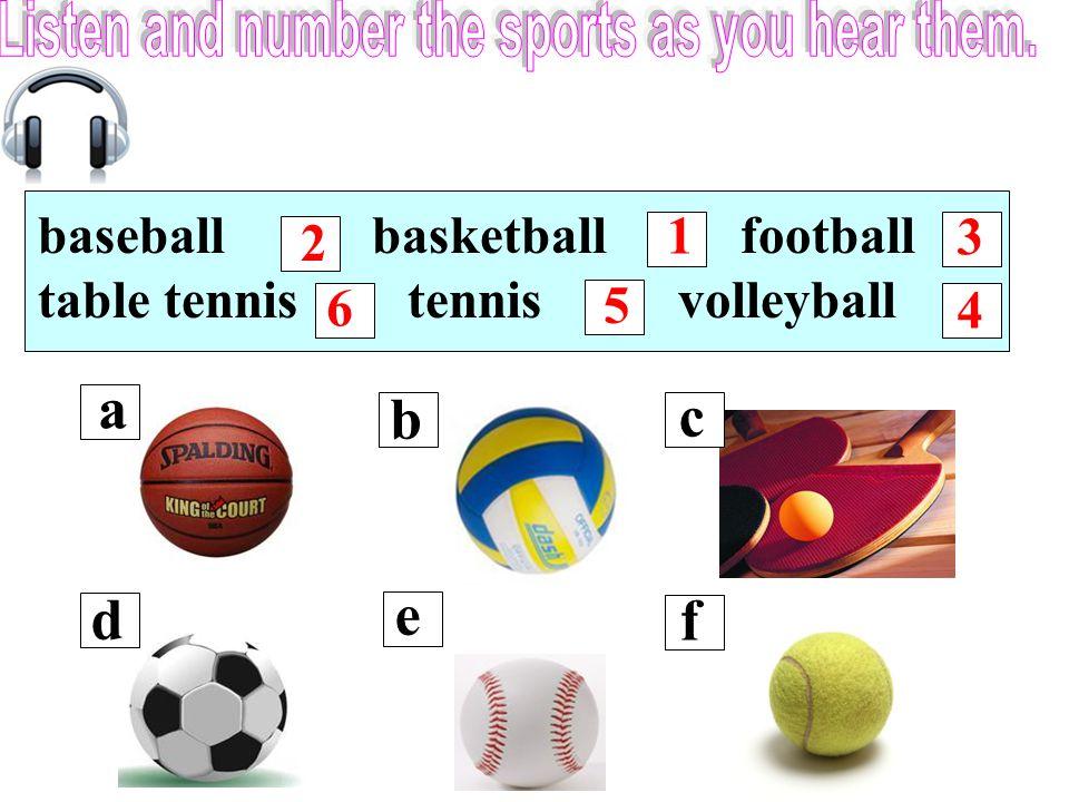 baseball basketball football table tennis tennis volleyball 6 1 2 3 5 4 a b c d e f