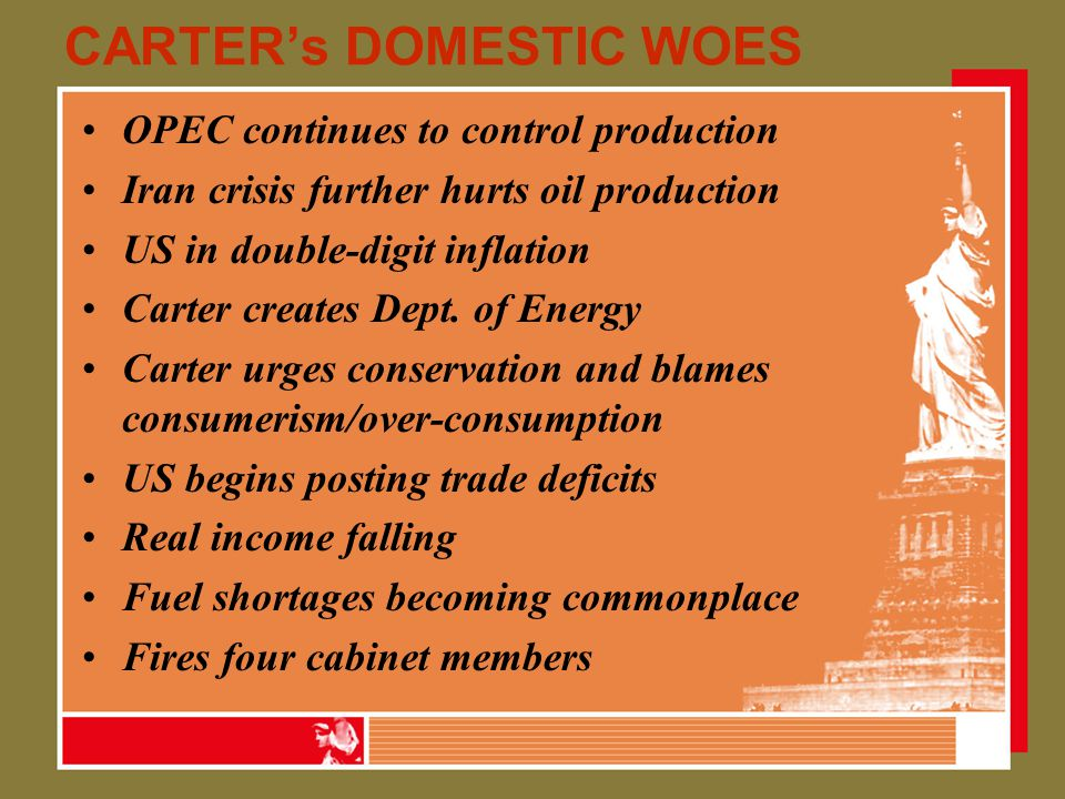 CARTER's DOMESTIC WOES OPEC continues to control production Iran crisis further hurts oil production US in double-digit inflation Carter creates Dept.