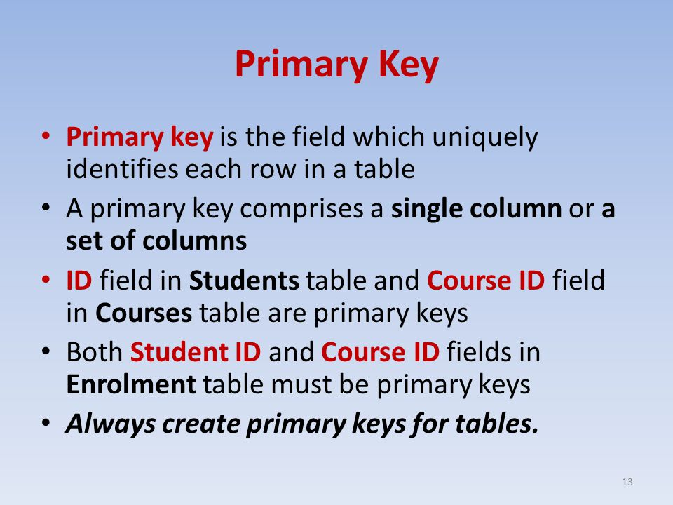 Primary Key Primary key is the field which uniquely identifies each row in a table A primary key comprises a single column or a set of columns ID field in Students table and Course ID field in Courses table are primary keys Both Student ID and Course ID fields in Enrolment table must be primary keys Always create primary keys for tables.