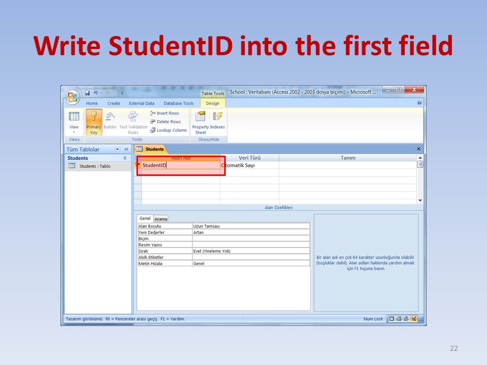 Write StudentID into the first field 22